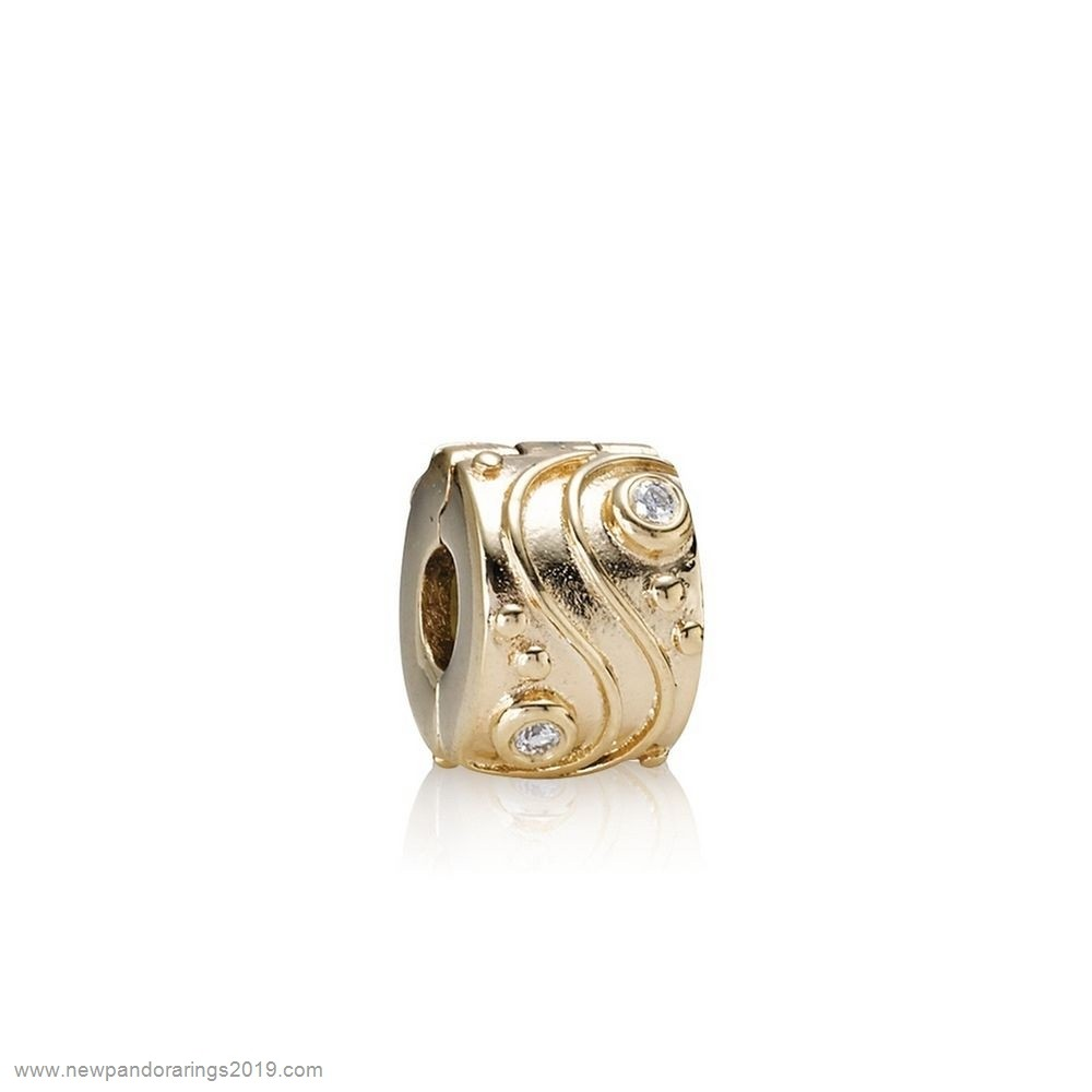 Pandora Store Website Pandora Clips Charms Babbling Brook Abstract Gold Clip Diamonds