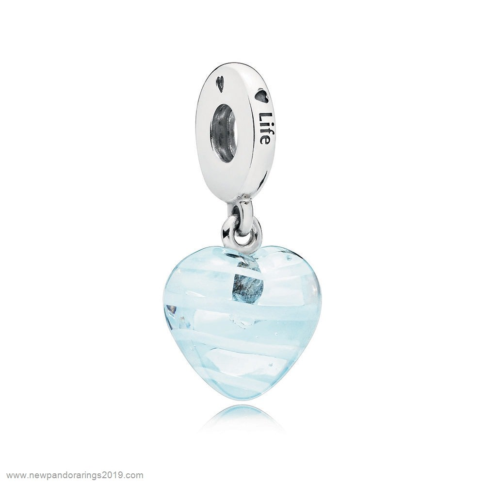 Pandora Store Website Blue Ribbon Heart Dangle Charm, Murano Glass